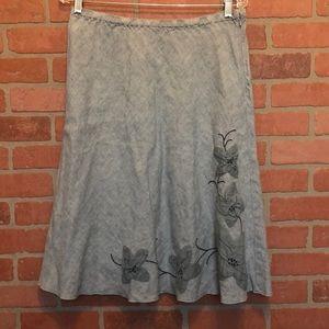 J Jill linen skirt embellished floral (3W47)
